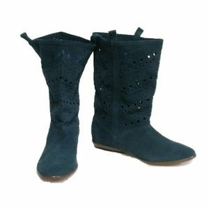 Decree Blue Leather Stenciled Low Ankle Boots Sz 7